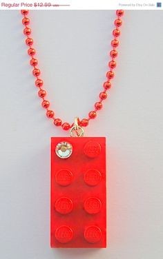 ON SALE Red LEGO R brick 2x4 with a Diamond by MademoiselleAlma, $9.09