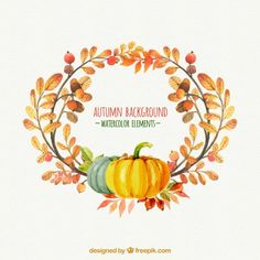 Thanksgiving, fall, autumn. Vector art. Pumpkins, acorns, leaves and branches in wreath form. Watercolor. Office party and invitations.