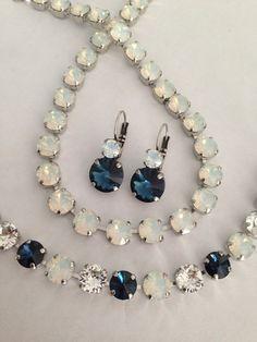 Swarovski crystal necklace - white opal - not sabika on Etsy, $69.00