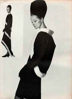 1967 - Balenciaga's black wool dress (main photo) with a matching cutaway jacket bordered with bands of white mink. Inset: His bolero-topped black crepe dress with diamante bands, leading to a fishtail hem. Photo from Vogue,
