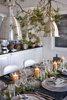 mercury glass ornaments, fragrant bough, moss and candle table runner