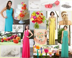 Why not go bold and beautiful for summer, when choosing your wedding colour palette dont be scared to use pastel brights. We hope to inspire you with our moodboard of colourful ideas & popping candy colours for bridesmaids, featuring dresses from the Dessy collection, Veromia bridesmaids & Richard Designs accessories.