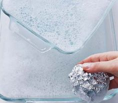 Aluminum Foil as Glassware Scrubber  To get baked-on food off a glass pan or an oven rack, use dishwashing liquid and a ball of foil in place of a steel-wool soap pas.  It's one way to recycle those used but perfectly good pieces of foil you hate to throw out.