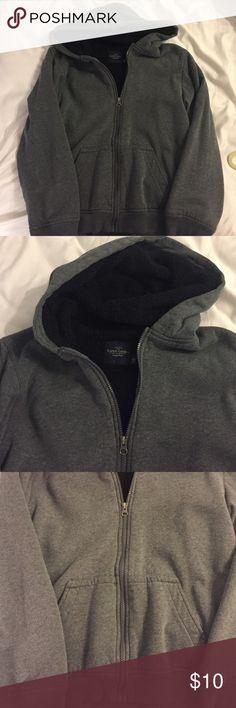 Boys xxl (18) grey fleece lined hoodie Faded glory grey sweatshirt with black fleece interior and pockets. Awesome sweatshirt very comfy and warm. Faded Glory Shirts & Tops Sweatshirts & Hoodies