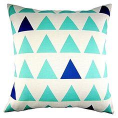 Triangle Cushion, Aqua/Navy by Urban Nest Designs
