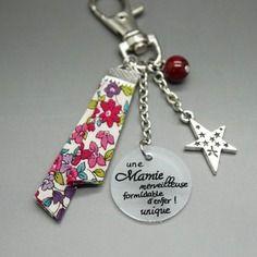 Porte clef bijoux de sac cabochon mamie unique liberty etoile