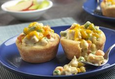 35 minutes is all you need to have these delicious mini pot pies on the table. Refrigerated biscuits form the crust for a flavorful chicken mixture and baked to golden perfection.  They're so good you'll want to make them again and again!