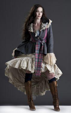 Harris Tweed & frock coat with crinoline skirt