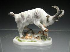 Charming Vintage Ludwigsburg Porcelain Preening Goat Figurine