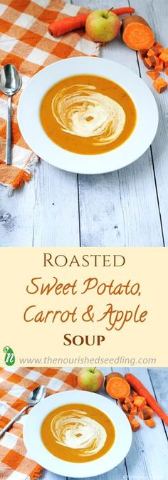 This is a great soup for a quick dinner with high nutrition.  Sweet potatoes and carrots are an excellent source of beta carotene, which converts to vitamin A in the body – great for the skin and immune system.