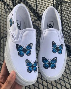 painted shoes Any Color Butterfly Slip On Vans Vans Slip On Shoes, Custom Vans Shoes, Van Shoes, Adidas Shoes, Girls Vans Shoes, Custom Slip On Vans, Cool Vans Shoes, Cleats Shoes, Girls Heels