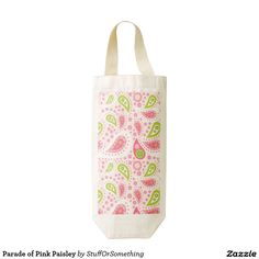 Parade of Pink Paisley Zazzle HEART Wine Bag