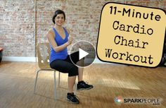 Chair Cardio Workout - Do you sit at a desk all day? Are you confined to a chair? Do you struggle with mobility issues? Then this workout is for you! This short and simple cardio workout will elevate your heart rate to burn calories and fat in Fitness Video, Fitness Tips, Health Fitness, Health Club, Fitness Goals, Chair Exercises, Stretching Exercises, Stretches, Spark People