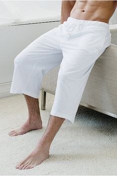Details about Linen Beach Shorts / Pants Men's Capri - Draw String ...