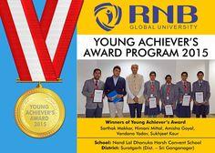Sarthak Makkar Himani Mittal Amisha Goyal Vandana Yadav Sukhjeet Kaur are the Winners of Young Achievers Award 2015 of Nand Lal Dhanuka Harsh Convent School from Suratgarh (Dist.  Sri Ganganagar) #Rajasthan