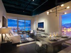 Living room design at Strathcona Village (Wall Centre 900 Hastings), a new condo development in Vancouver New Condo, New Construction, Interior Inspiration, Living Room Designs, Dining Table, Vancouver, Furniture, Centre, Home Decor