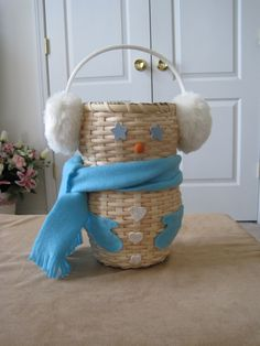 """""""Murphy"""" Snowman basket my Mom made for me! Love it!"""