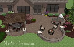 Large Curvy Patio Design with Grill Station + Bar Also Includes Seating Wall and 12 x 12 Cedar Pergola | Plan No. 1153rr | Download Installation Plan at MyPatioDesign.com