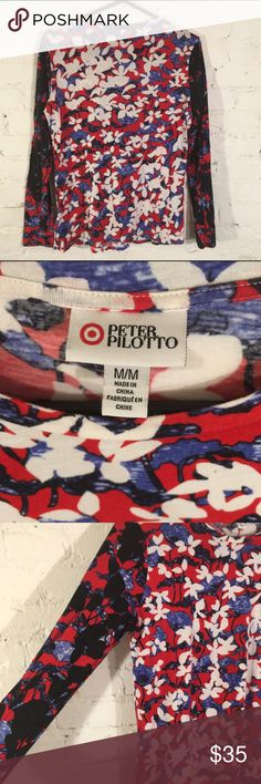 RARE Peter Pilotto + Target Floral LS Cotton Tee Peter Pilotto Abstract Floral Long Sleeve Cotton Crewneck Tee Mulit-Colored size M. Mint condition RARE COLOR Peter Pilotto for Target Tops Tees - Long Sleeve