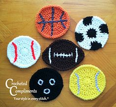 Sports Ball Coasters - Free crochet pattern by Crocheted Compliments