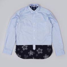 Junya Watanabe Man Stripe Kasuri Shirt - Sax/Navy (Image 1)