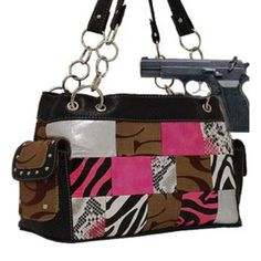 CLETO Khaki and Pink Fashion Signature Conceal and Carry Purse : Conceal and Carry Purses
