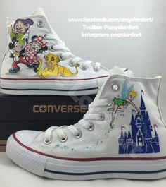7e8ebed1d65a Custom Painted Disney themed inspired Converse Hi Tops shoes sneakers.  Custom listing for Emanuelle