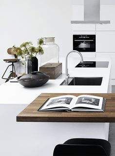kitchen styling.. #wood #white