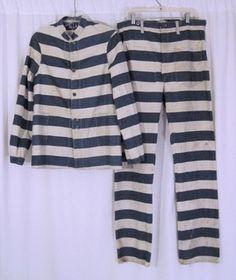 Mens Stripe Denim Prison Uniform Pants and Jacket of 3 Prison Outfit, Historical Clothing, Historical Dress, Fashion History, Mens Fashion, Fashion Tips, Work Wear, Vintage Outfits, Menswear