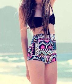 Stylish Retro High Waist Swimsuit Bikini