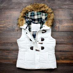 mountain slopes fur hooded white puffer vest