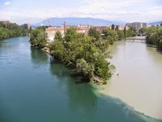 World's Beautiful Landscapes.: Confluence of Rhone and Arve Rivers | Geneva, Swit...