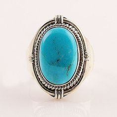 Blue Turquoise Oval Sterling Silver Ring – Keja Designs Jewelry