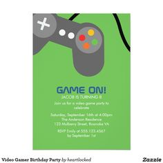 Video Gamer Birthday Party 5x7 Paper Invitation Card