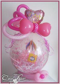 Cadeauballon geboorte meisje Stuffing Balloon girl ©www.crearose.nl Gemaakt door mijn dochter Sarah