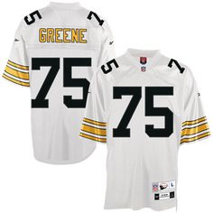 Youll be the envy of die-hard Joe Greene fans everywhere when youre decked out in this Mitchell And Ness Pittsburgh Steelers http://#75 Joe Greene White Replica Throwback NFL Jerseyfrom Mitchell  Ness. Its made of textured polyester mesh and has a ribbed crew-neck collar. Joe Greene s number is Embroidered on the chest, back and sleeves