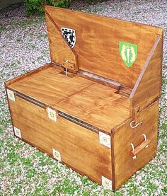 A DIY combination trunk and bench or, a camping stove stand kitchen trunk.
