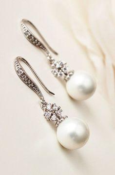 White Pearl Drop Earrings Bridal - Newest Jewelry Models Pearl Drop Earrings, Pearl Jewelry, Crystal Earrings, Wedding Jewelry, Dangle Earrings, Fine Jewelry, Dior Earrings, Pearl Earrings Wedding, Vintage Bridal Earrings