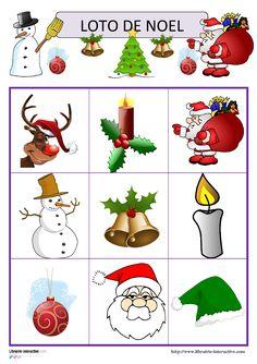Deux jeux de loto avec 15 ou 30 images sur le th�me de No�l (P�re No�l, sapin, cloches, bonbons, cadeaux, tra�neau, guirlandes, flocons de neige...).