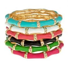 Fornash Stone and Enamel Bamboo Bangle is the perfect compliment to an outfit. Available at the store and online.