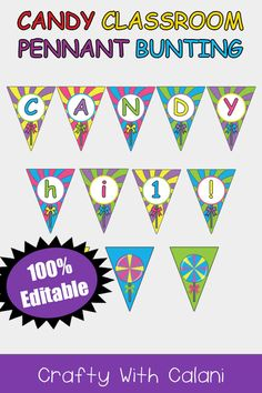Classroom Pennants, Classroom Themes, Bunting Template, Candy Land Theme, Cute Dinosaur, Small Letters, Letter Size Paper, Cute Owl, Artwork Design