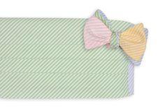 Seersucker Four Way Cummerbund Set with Mint Green Front by High Cotton