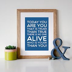Dr Seuss 'You Are You' Quote Print - prints & art sale