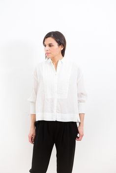 Nili Lotan Pleated Tux Blouse