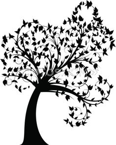 Curly Tree Silhouette With Leaves