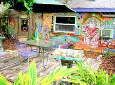 Carol Sackman and Blake White live with their mosaic art, painted objects and furniture at their home and studio in Dunedin. They are among the artists participating in Studio Waltz on Saturday.