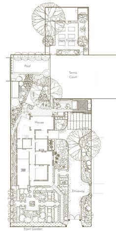 Strong formal geometry in the site plan of a large lot