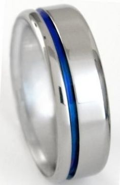 Elegant Men's Rings - Matching Blue Titanium Ring Set stb2, $299.00 (http://www.elegantmensrings.com/matching-blue-titanium-ring-set-stb2/)