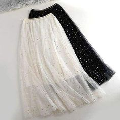 Summer Glitter Long Tulle Skirt Women Pleated Shiny Tutu Skirt Star Moon Skirt ALine Mesh Sequined Skirt 3 Layer Size One Size Color Beige Girls Fashion Clothes, Teen Fashion Outfits, Classy Outfits, Girl Fashion, Fashion Dresses, Trendy Dresses, Casual Dresses, Tutu Skirt Women, Designs For Dresses