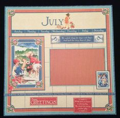 July Premade Scrapbook Album Page, 12x12 Scrapbook Layout, Summer Layout, Graphic 45 Children's Hour Layout Page,